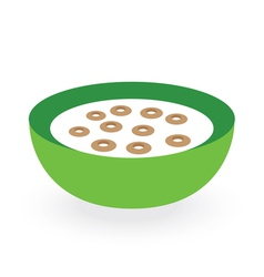 cereals bowl milk isolated on white background vector image vector image