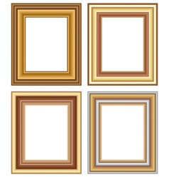 Four wooden carved frames isolated on white vector image vector image