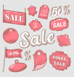 sale discount hand drawn labels set vector image