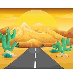 Scene with road in the desert vector image
