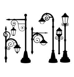 street lamp road lights silhouettes vector image vector image