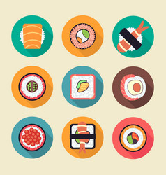 sushi and rolls icons vector image vector image