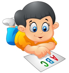 Children reading cartoon vector image