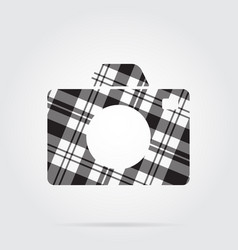 grayscale tartan isolated icon - camera vector image