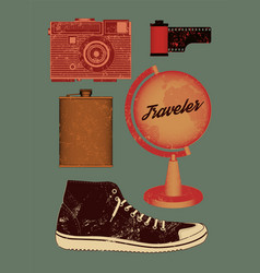 grunge set of retro things for traveler vector image