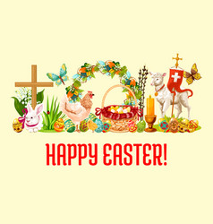 happy easter day greeting banner design vector image