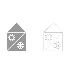 Home cooling and heating system set icon vector