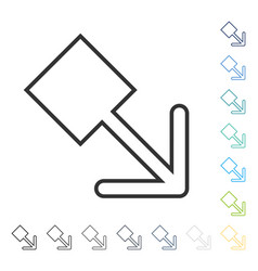 Pull right down icon vector