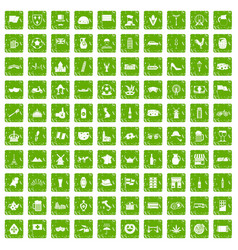 100 europe countries icons set grunge green vector image
