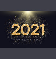2021 number with golden glitter for new year vector image