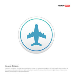 airplane icon - white circle button vector image
