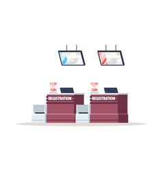 Airport registration counter semi flat rgb color vector
