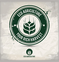 alternative eco agriculture stamp vector image
