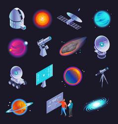 astrophysics isometric icons vector image