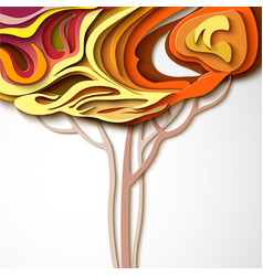 Autumn tree abstract paper cut design vector