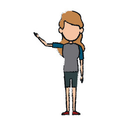 Avatar woman standing female person wearing casual vector
