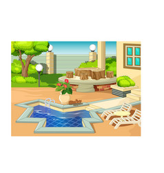 Back yard with swimming pool and white chair vector