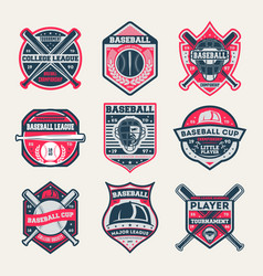 Baseball championship vintage isolated label set vector
