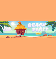 beach party landing page with sea and bungalow vector image