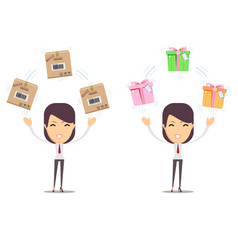 beautiful young woman with different boxes vector image