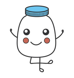 Bottle medical kawaii character vector