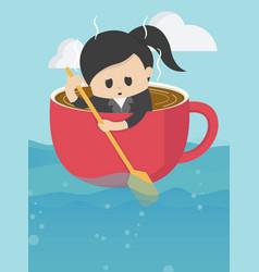 Businesswoman rowing coffee cup in sea vast vector