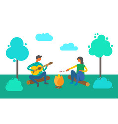 Camping people couple sitting by bonfire together vector