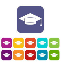 Cap student icons set vector