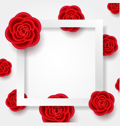 Card with realistic flowers and square frame vector