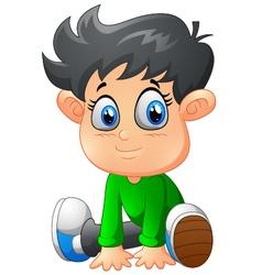 cartoon boy sitting vector image