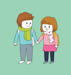 cartoon cute boy and girl crying vector image