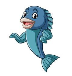 cartoon fish mascot waving hand vector image