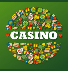 casino gambling icons in round frame composition vector image