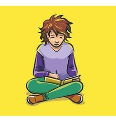 Child doing homework vector