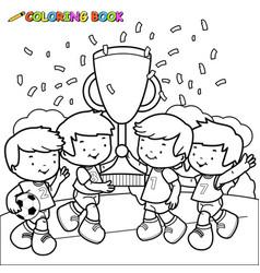 children soccer player champions vector image