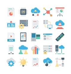 Cloud Data Technology Colored Icons 3 vector