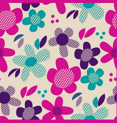 colorful retro abstract flowers seamless pattern vector image