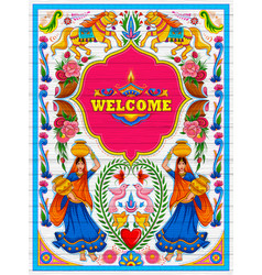 Colorful welcome banner in truck art kitsch style vector