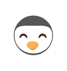 cute face penguin animal cheerful vector image