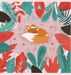cute mom and baby fox are sleeping in thel forest vector image