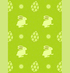 cute seamless pattern with rabbit cartoon on green vector image