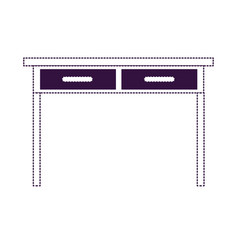 Desk table with drawers front view in purple vector
