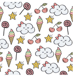doodle seamless pattern with magical sweets vector image