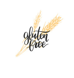 Eco organic food logo gluten free hand lettering vector