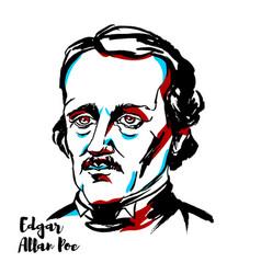 Edgar allan poe portrait vector