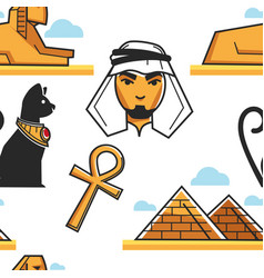 egyptian culture and architecture seamless pattern vector image