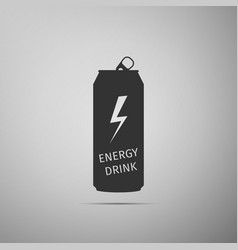 Energy drink flat icon on grey background vector