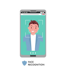 face id concept male face on big smartphone vector image
