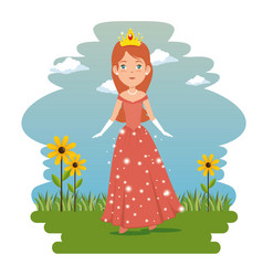 Fantastic character fairytale princess vector