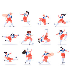 female football players soccer women team young vector image